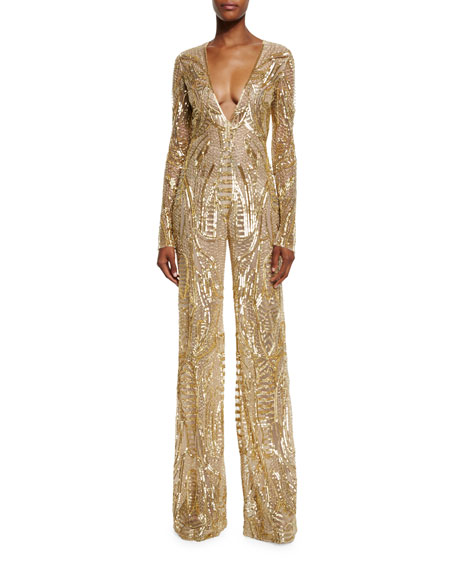 Sequined Long-Sleeve Wide-Leg Jumpsuit, Gold