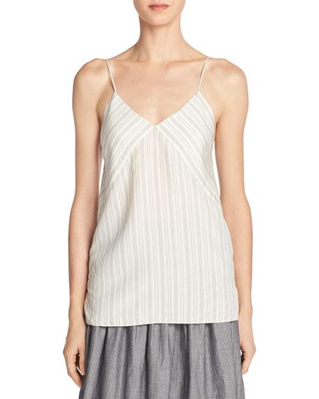 Monotone Striped Silk V-Neck Camisole, Off-White/Black