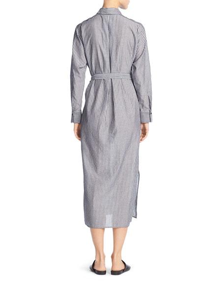 Double-Stripe Midi Shirtdress, Black/Off-White
