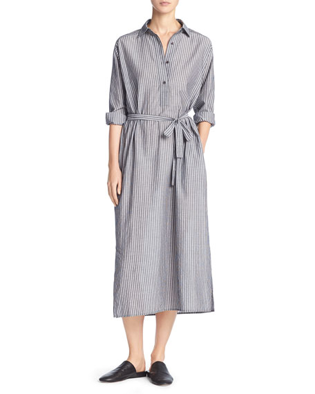 Vince Double-Stripe Midi Shirtdress, Black/Off-White
