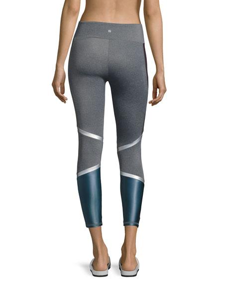 Lennox Combo Back-Panel Leggings, Purple/Blue