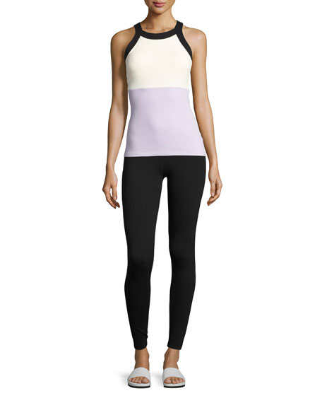 x kate spade new york blocked high-waist leggings, black/lilac/white