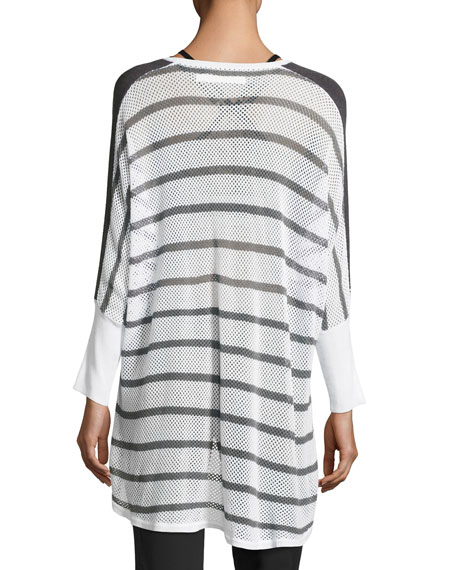 Stripe Drape Mesh Knit Sweater, White/Gray