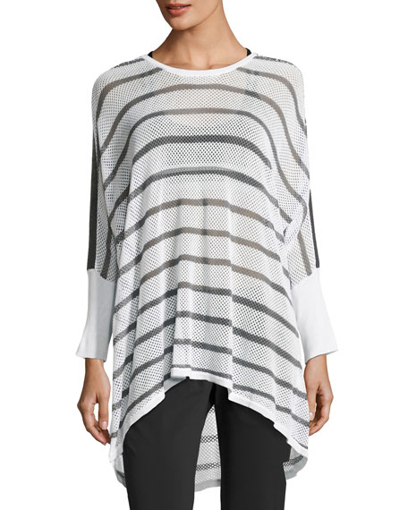 Blanc Noir Stripe Drape Mesh Knit Sweater, White/Gray