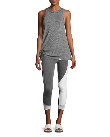 Allegiance Athletic Capri Leggings, Gray/White