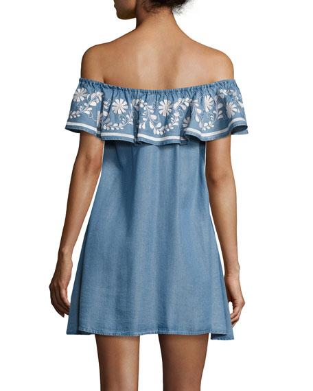 Dev Chambray Off-the-Shoulder Dress, Light Blue