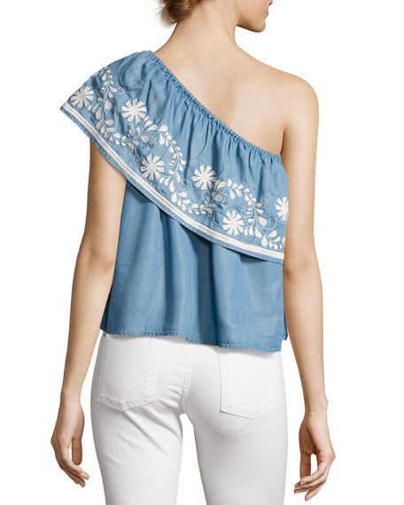 Rita One-Shoulder Embroidered Top, Light Blue