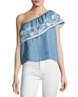 Rita One-Shoulder Embroidered Top, Light Blue