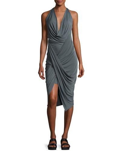 Draped Stretch-Knit Tank Dress