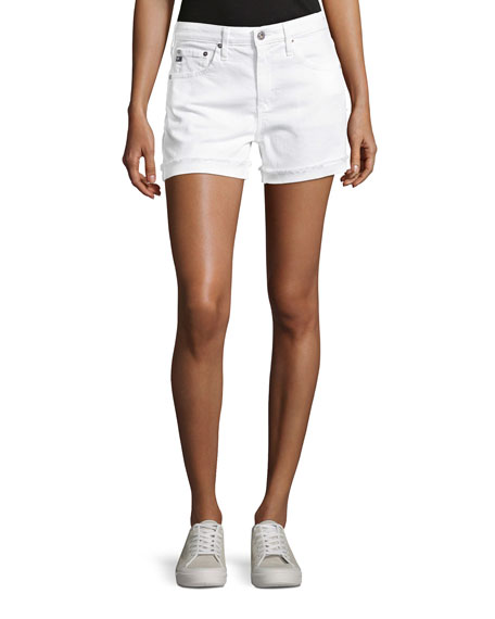 AG Hailey Mid-Rise Denim Jeans Shorts, White