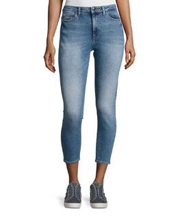 Chrissy Overboard High-Rise Denim Jeans, Indigo
