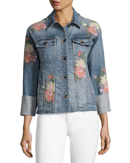 The Belize Floral Embroidered Denim Jacket, Indigo