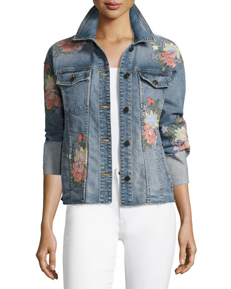 The Belize Floral Embroidered Denim Jacket, Indigo