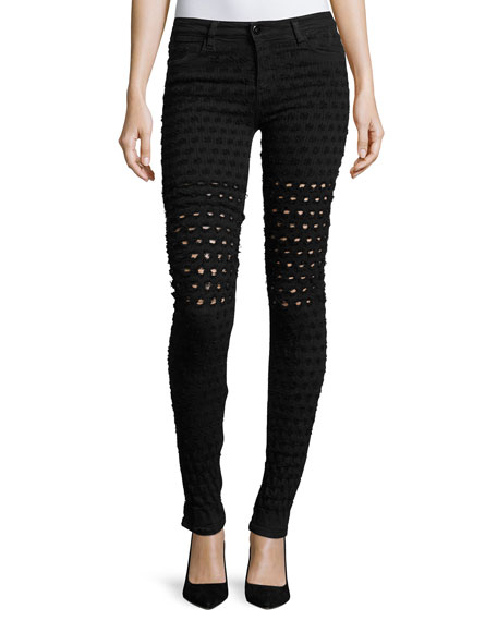 Brockenbow Emma Al Honeycomb-Pattern Jeans, Black