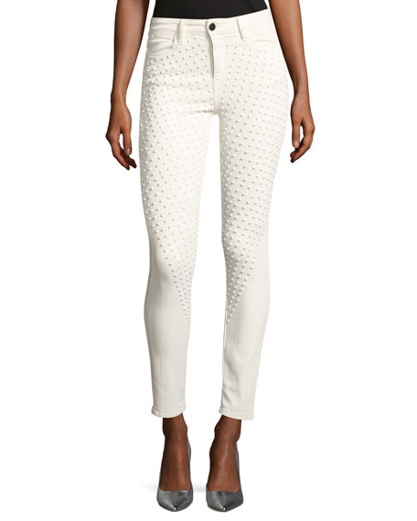 Brockenbow Reina Max Lacey Skinny Pants, White
