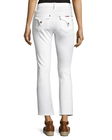 Bailey Mid-Rise Baby Boot-Cut Crop Jeans, White