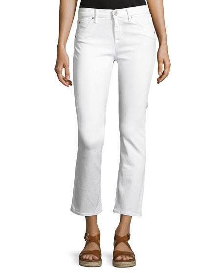 Hudson Bailey Mid-Rise Baby Boot-Cut Crop Jeans, White
