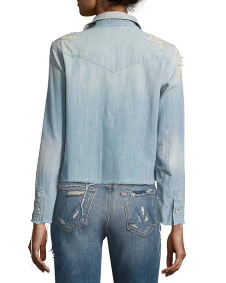 Super Ex's Crop Fray Shirt, Indigo