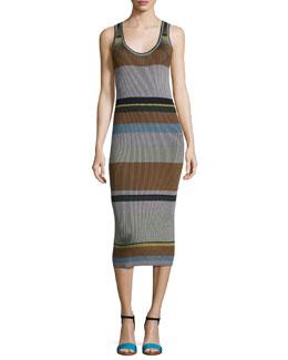 Striped Ribbed Tank Midi Dress, Blue Pattern