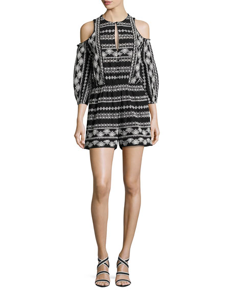 Tory Embroidered Cotton Romper, Black/White