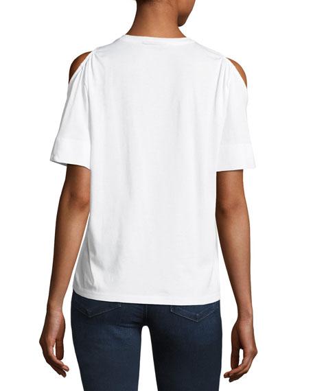 Short-Sleeve Cold-Shoulder Jersey Top, White