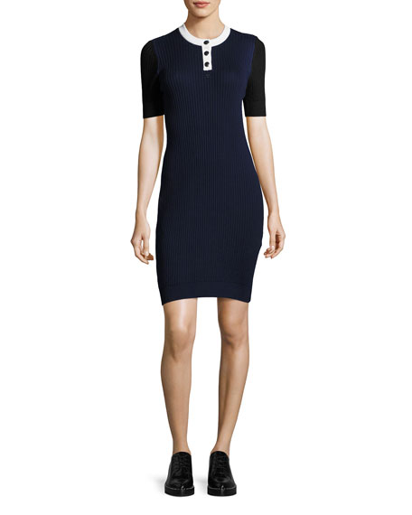 Ribbed Knit Elbow-Sleeve Dress, Multi