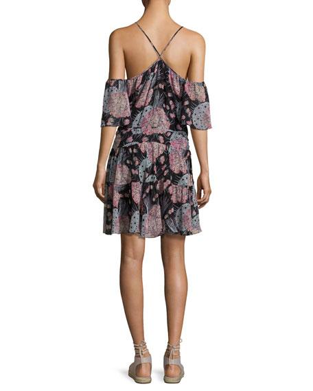 Amira Cold-Shoulder Floral-Print Dress, Black Pattern