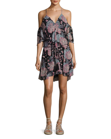 Amira Cold-Shoulder Floral-Print Dress, Black Pattern