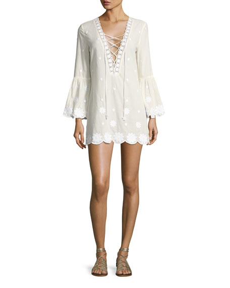 Miguelina Laurie Daisy Embroidered Lace-Up Tunic, White