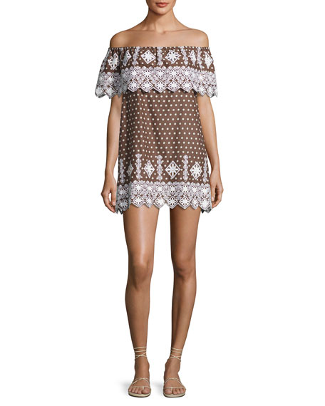 Miguelina Agnes Geometric Embroidered Cotton Dress, Brown