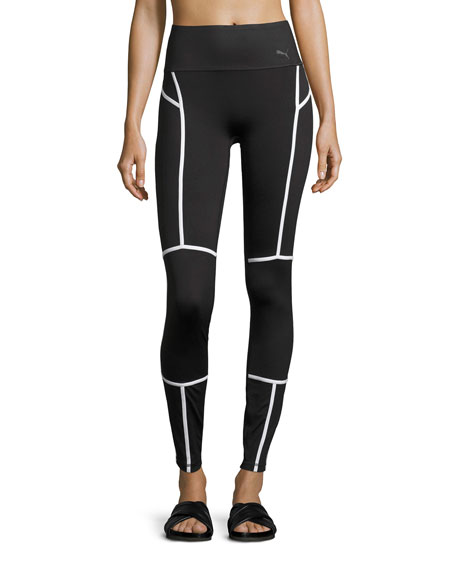 PWRSHAPE High-Waist Performance Tights, Black/White
