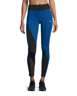Explosive High-waist Performance Tights, Blue/Black