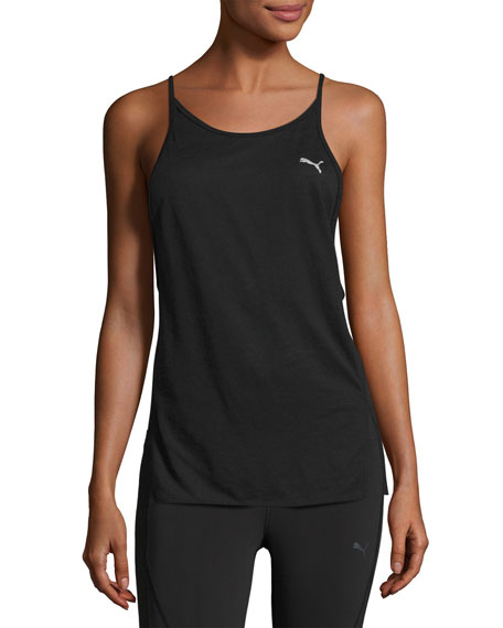 Dancer Draped Performance Tank Top, Black