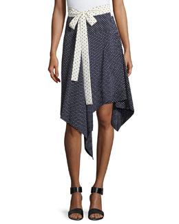 Danica Asymmetric-Hem Wrap Skirt, Navy