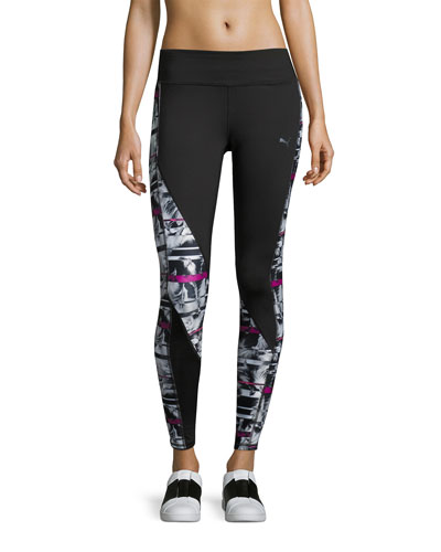 Clash Performance Tights Leggings, Multipattern