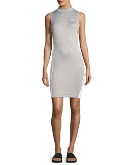 T7 Sleeveless Fitted Sports Dress, Light Gray