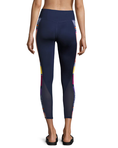 Clash 7/8 Performance Leggings W/ Mesh, Blue Pattern
