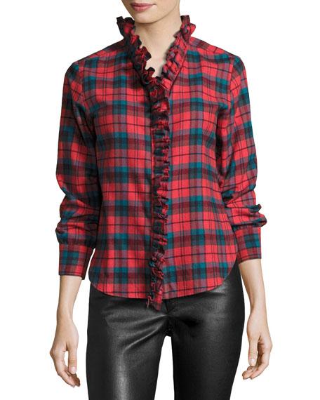 Awendy Plaid Ruffled Flannel Shirt