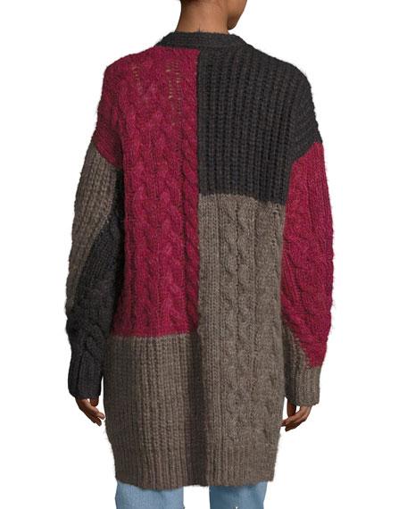 Dailon Patchwork Cable-Knit Cardigan