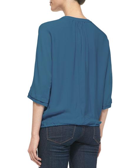 Marru Pintuck-Front Silk Blouse