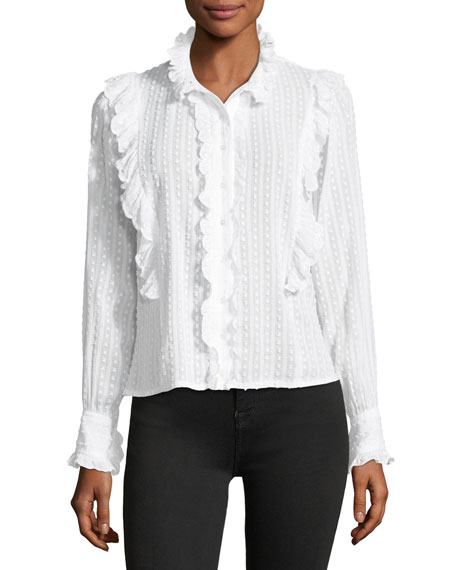 Yann Textured Cotton Voile Top with Ruffled Trim