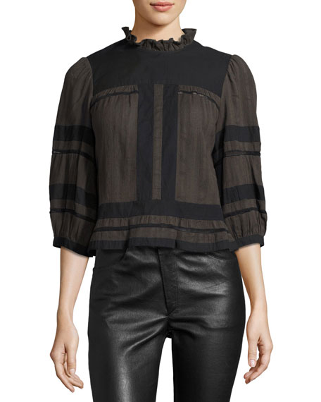 Ritz 3/4-Sleeve Cotton Blouse, Bronze