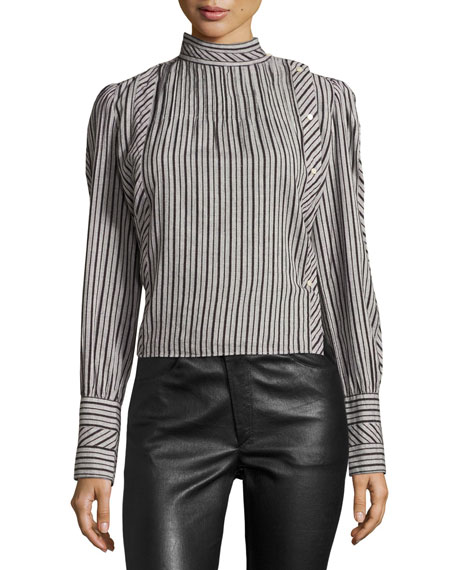 Oak Striped Mock-Neck Blouse, Gray