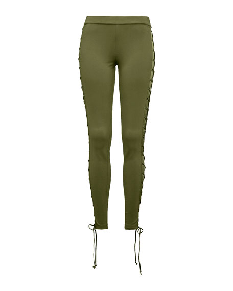 Lace-Up Stretch-Knit Leggings, Green