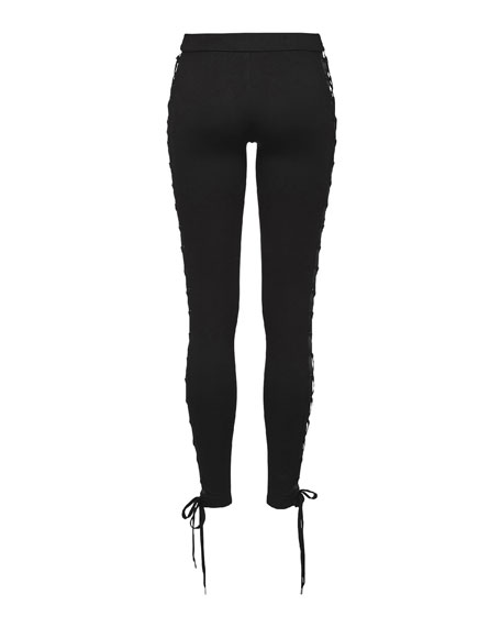 Lace-Up Stretch-Knit Leggings, Black
