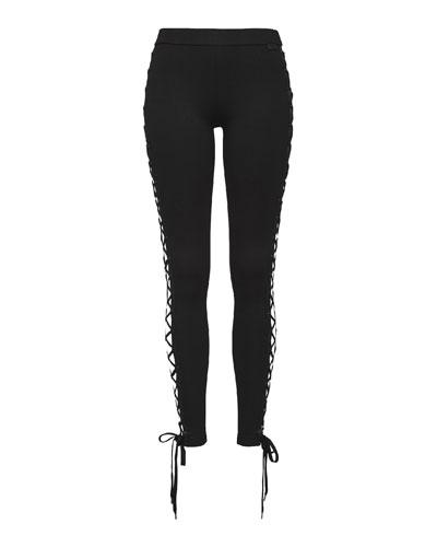 Lace-Up Stretch-Knit Leggings, Black