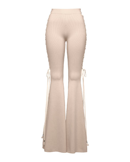 1d4f64ee3f2 Lace-Up Knit Bellbottom Pants Pink