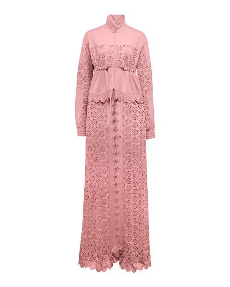 Tricot Zip-Off Maxi Coat, Pink