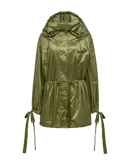 Tie-Cuff Drawstring Parachute Jacket, Green