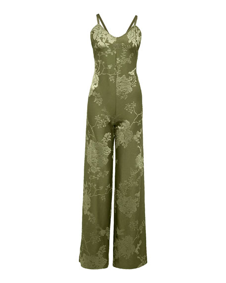 Sleeveless Floral Jacquard Jumpsuit, Green